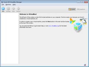 VirtualBox - widok po uruchomieniu aplikacji.