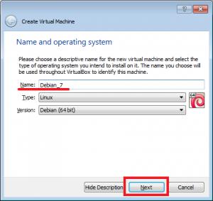 VirtualBox wybór nazwy, typu i wersji systemu operacyjnego.