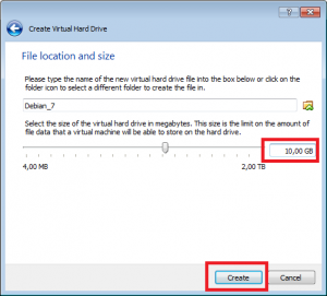 VirtualBox określenie lokalizacji oraz rozmiar.