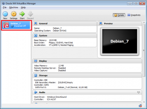VirtualBox stworzona nowa maszyna wirtualna.